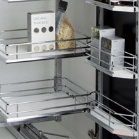 Tall kitchen pull-swing, door mounted, solid base basket