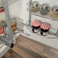 Tall kitchen pull-swing, door mounted, wire basket