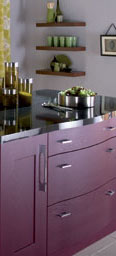 Kitchen in Aubergine and curved