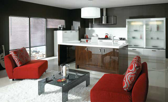Kitchen as Ultra High Gloss in White & Ebony