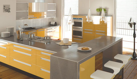 Kitchen as Zurfiz in ultragloss saffron