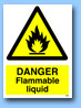 Danger flammable liquid sign